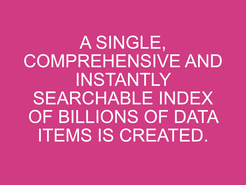 The data discovery tool creates a single index of all your data
